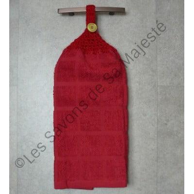 serviette-savon-majeste-quebec-fait-main-rouge-coton-tricoter-crochet-suspendre-400x400