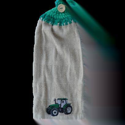 Tracteur vert serviette à main