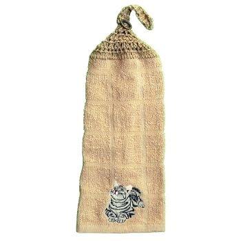 serviette à main avec chat gris