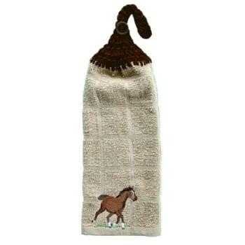 serviette à main avec cheval brun