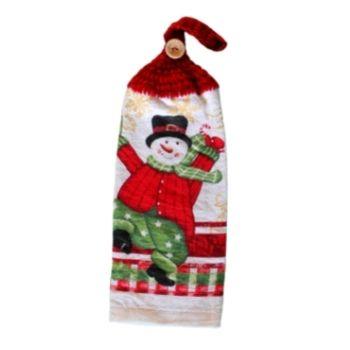 Serviette imprimé avec bonhomme de neige.