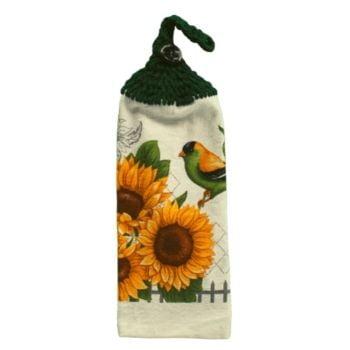 serviette en coton avec tournesol et oiseau