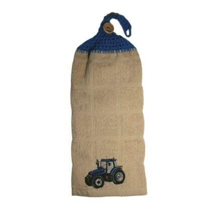 serviette brodé avec motif de tracteur bleu