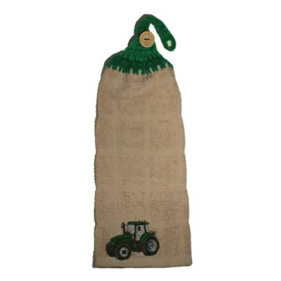 Serviette avec motif brodé de tracteur vert