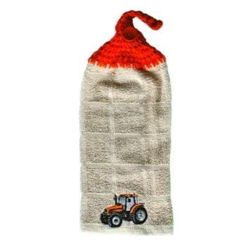 serviette à mains avec tracteur orange